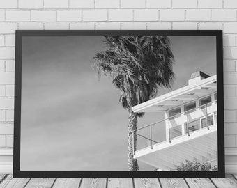 Palm Tree Beach House Art Print, Beach, Palm Tree, Beach House, Printable Digital Download, Photography