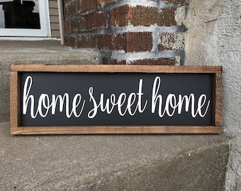 Home Sweet Home, Framed Sign, Rustic Wooden Sign, Home Decor, Wall Art, Farmhouse, Customizable Signs, Photo Props, 7x21