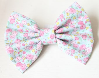 Dog Bow Tie, Pale Blue Ditsy Floral