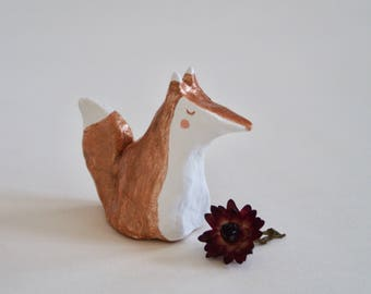 Rose gold Fox Miniature, Totem, Figurine, Home decor