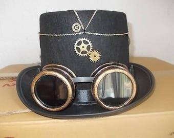 Gothic Steampunk Hut. Hat. Schwarz Zylinder. Size 57