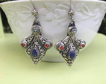Lapis  turquoise Earrings - Sterling Silver Lapis Earrings - Blue Lapis Dangle Earrings - Blue Stone Earrings - holiday Jewelry, kuchi earri