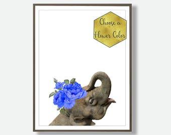 Elephant Prints, Nursery Elephant, Printable Nursery Art, Baby Elephant, Downloadable Elephant, Asian Elephant, Safari Decor, Elephant Art
