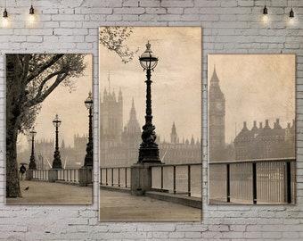 Urban Landscape, London Skyline , Art Print on Canvas, Black  White, Large Wall Art , River, Canvas Art, Living Room Decor, Extra Large Art