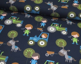 Jersey farm tractor dark blue fabric Cotton Jersey 0, 50 m