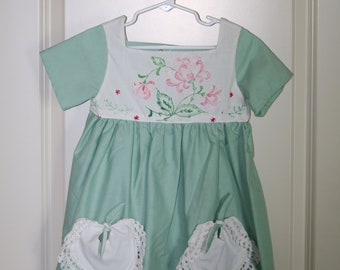 Girls 4T Handmade Dress with Vintage Touch