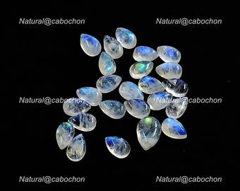 33 Cts Natural Blue Fire White Rainbow Moonstone Cabochon 10 Pcs briolette Pear Shape Loose Moonstone,Wholesale Lots Moonstone,12x8x5mm Cabs