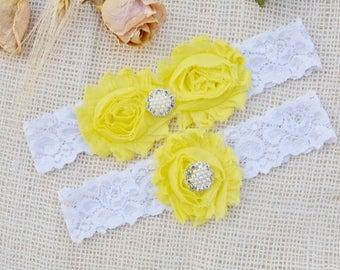 Yellow Garter Set, Yellow Garter Belt, Bridal Clothing, Garter Lace, Garter For Women, Romantic Garter, Lace Garter Set, Yellow Keep Garter