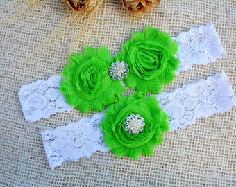 Lime Wedding Garter, Garter Set, Bridal Garter, Lime Green Garter, Keepsake Garter, Bridal Toss Garter, Shabby Flower, Lace Wedding Garter