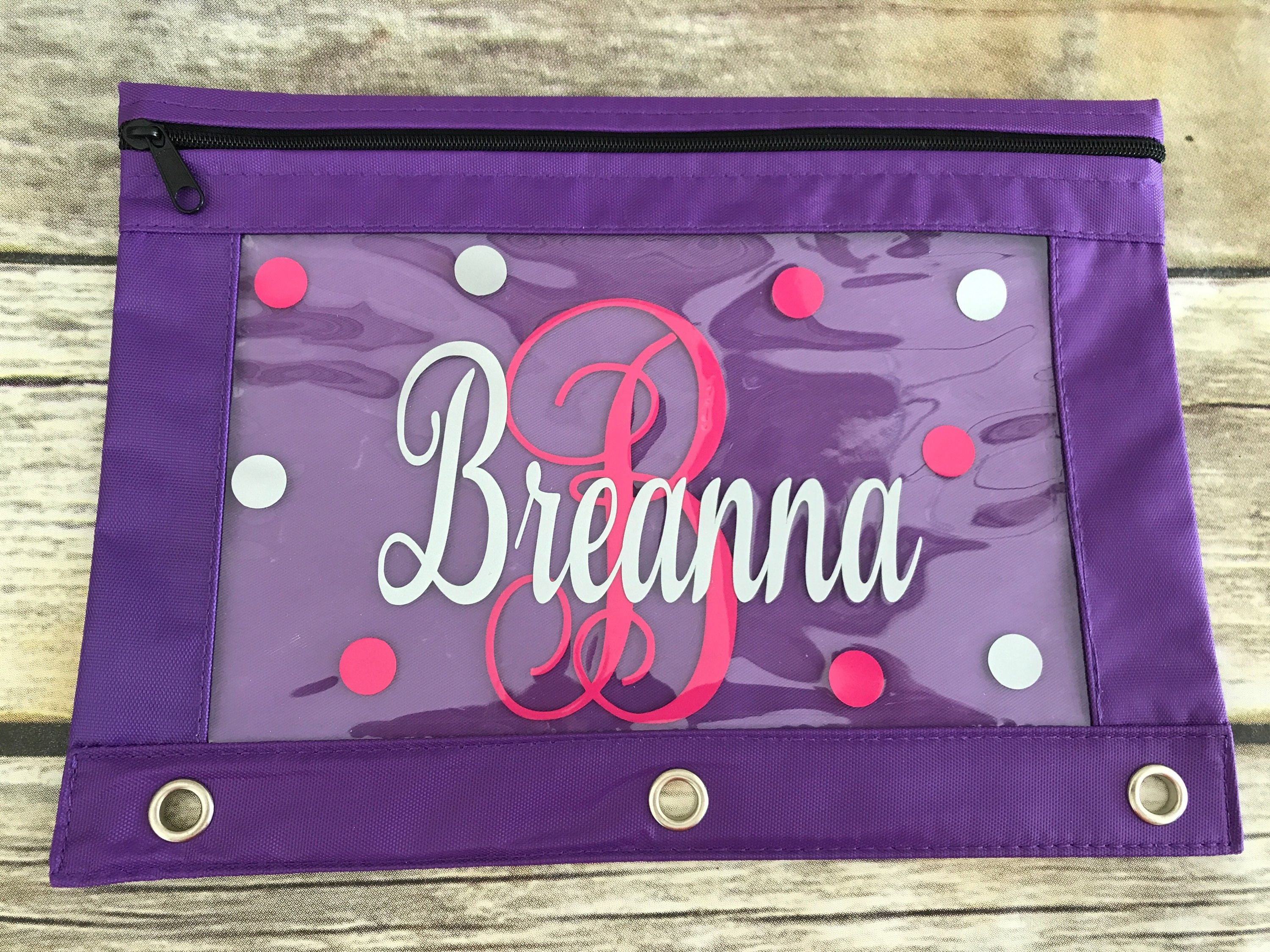 Personalized 3 Ring Pencil Pouch Back To School Pencil Case