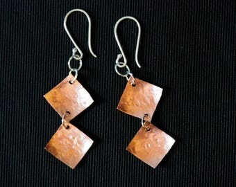 "Mature:  Hand Stamped 'Curse Words' Earrings. These say ""F--k It"". Copper and silver, Stirling silver wires, handmade."
