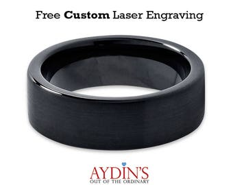 Tungsten Wedding Band Black Brushed Pipe Cut Band 7mm Ring