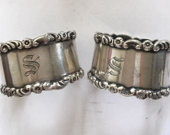 Pair of sterling silver hallmarked 1911 and monogram engraving S