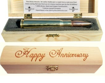 Anniversary gifts for men etsy anniversary gifts for men bullet pen engraved gift box personalized anniversary present negle Gallery