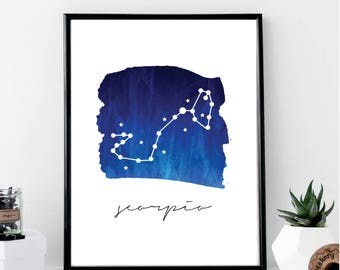 Scorpio Constellation Print // Minimalist // Wall Art // Typography // Fashion // Scandinavian // Boho // Modern Office