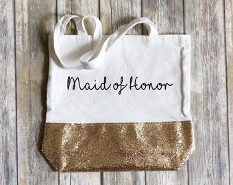 Gold glitter tote, customized tote bag, canvas tote bag, valentines day gift, tote bag with name, bridesmaid gift, glitter tote