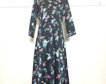 SALE 70s Black Silky Flower Print Maxi Dress