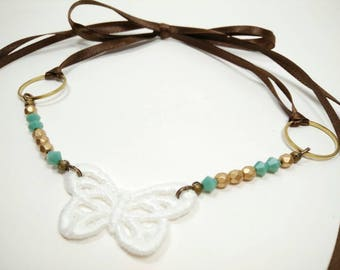 A LITTLE FLUTTER - White Lace Butterfly with Pale Mint Green and Matte Gold Faceted Glass Beads Ribbon Tie Choker