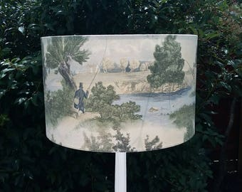 FLY FISHING - Pendant/Table drum lampshade in Lewis & Wood Sporting Character design