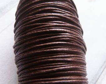 Brown Waxed Cotton Cord, 1mm Wide Brown Cotton Cord, Brown Necklace Cord, Bracelet Cord Lace String Rope, Beading Supplies (W12)