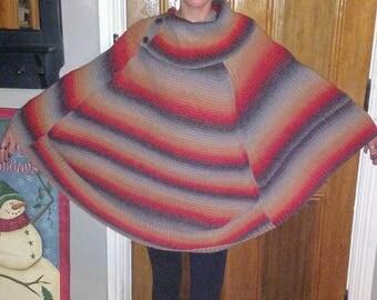 Vintage boho hippie poncho, 90s poncho, boho sweater poncho