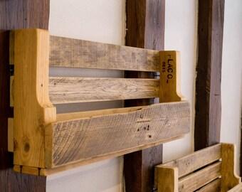 Reclaimed wood bottle rack