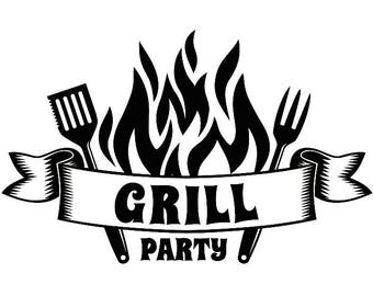 BBQ Logo #15 Grill Grilling Party Meat Steak Barbecue Butcher Cooking Cook Out Chef Food Restaurant.SVG .EPS Vector Cricut Cut Cutting File