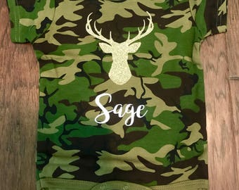 Personalized Gold Deer Head Baby Onesie Name Camo