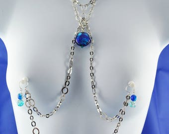 Rhodiumand shades of blue necklace plus set