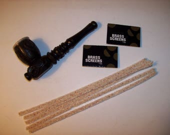 "Ebony Wood Smoking Pipe 4.0"" Length with 10 Piece Screens and 5 Pipe Cleaners"