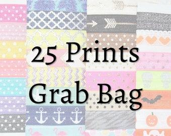 Hair Ties ~ 25 Pack Prints GRAB BAG Patterns Handmade Trendy Ponytail Holders Knotted Stretchy Elastic Yoga Hair Bands missponytail