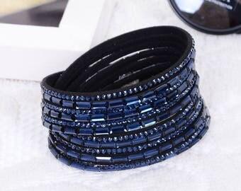 Swarovski Elements Paved Crystal & Leather Strap Bracelet Deep Blue