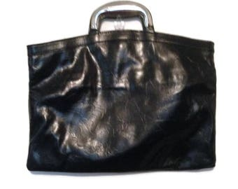 Vintage Black Bag with Silver Handle