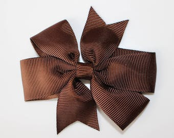 Chocolate bow for girl hair clip