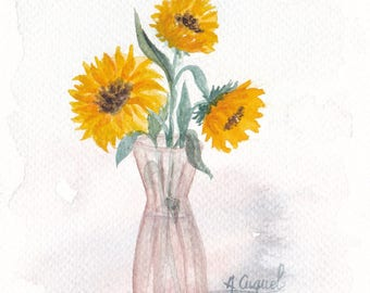 Small bouquet of sunflowers - original watercolor painting