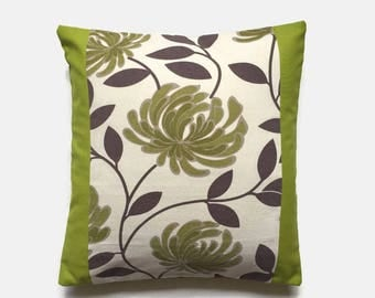 Retro Lime Green Cushion, Green Floral Fabric Front, Beige Background, Retro Throw Pillow, Retro Cushion, Mid Century Design. Accent Cushion