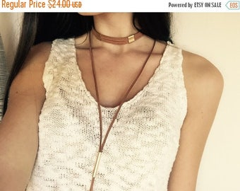 20% OFF SALE Suede multi strand choker necklace burgundy choker tan choker