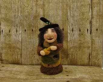 Small felted witch doll, Brekka, a potion making witch, fantasy witch needle felted doll, wool felted witch, soft sculptured fairyland witch