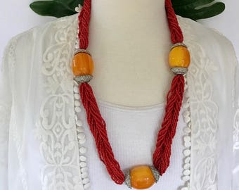 Amber Egg Yolk Amber Necklace with Seed Beads / African Inspired Jewelry / Butterscotch Colored Faux Amber Ethnic Necklace