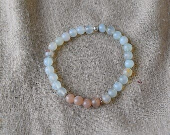 Aqua Agate & Sunstone Bracelet