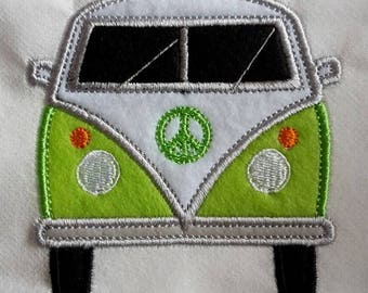 VW camper van patch, splitty, split screen, T1, T2, bus, Hippy wagon, retro, lime green and white