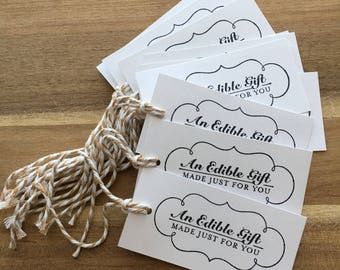 Set of 12 An Edible Gift Made Just For You White gift tags or treat tags canning labels baked goods tags baking holiday gift tags