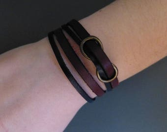 Bracelet 2 leather double straps