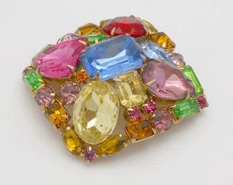 Vintage Multi Color Rhinestone Cushion-Shaped Brooch/Pin