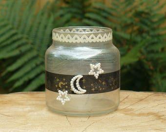 Moon and Stars Tea light candle lantern Fairy jar. Handmade & unique.