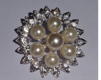 Lovely Faux Pearls and Rhinestone Brooch