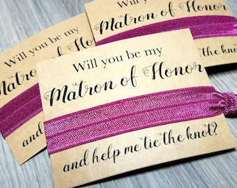 Will You Be My Matron of Honor and Help Me Tie The Knot Hair Tie Favors | Bridesmaid Proposal | Bachelorette Party Favors | Bridesmaid Gift