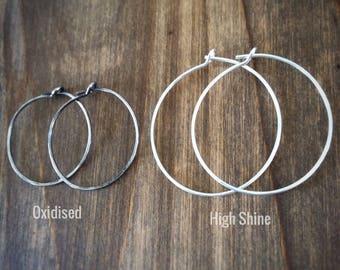 Hoop Earrings Textured Sterling Silver Huggie Hoops / Active Hoop Earrings / Everyday Hoops / Silver Hoop Earrings / Textured Hoop Earrings
