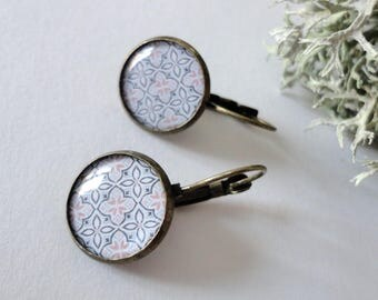 Stud Earrings with graphics mosaics, blue white and soft Pinks, bronze, trendy 2017