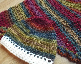 Hand-crocheted Triangle Folk Scarf and Hat Set